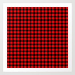 Australian Flag Red and Black Outback Check Buffalo Plaid Art Print