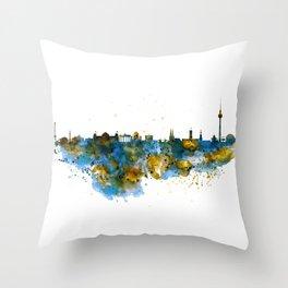 Berlin watercolor skyline Throw Pillow