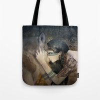 totem Tote Bags featuring Totem by Marine Loup