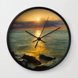 Coastal Landscape Photograph Sun Ray on the Water Beach Art Wall Clock
