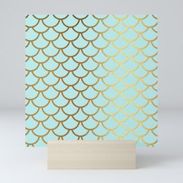 Aqua Teal And Gold Foil MermaidScales - Mermaid Scales Mini Art Print