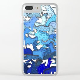 Blue Dinosaur Gradient Clear iPhone Case