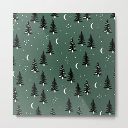 Christmas universe pine tree forest night Stars Moon Green Metal Print