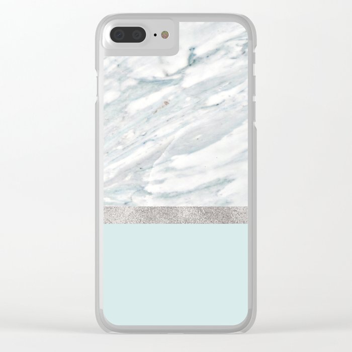 Calacatta verde - silver turquoise Clear iPhone Case
