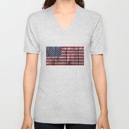 USA flag - on grainy wood Unisex V-Neck