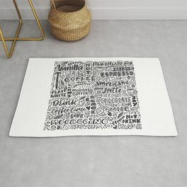 Types of coffee typography illustration Rug