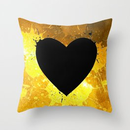Yellow Watercolor splashed heart texture Throw Pillow