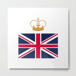 British flag with crown Metal Print
