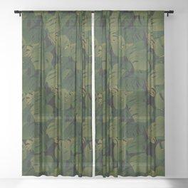 Monstera (Jungle) - Olive x Black Sheer Curtain