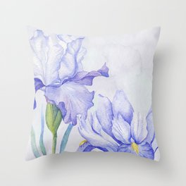 Watercolor Iris Throw Pillow
