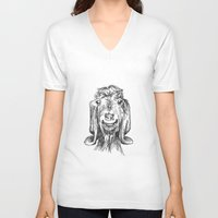 goat V-neck T-shirts featuring Goat by Sarah Mosser