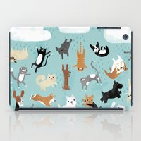 pomeranian iPad Cases featuring Raining Cats & Dogs by Anne Was Here