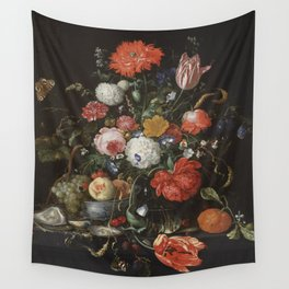 Jan Davidsz de Heem - Flower Still Life with a Bowl of Fruit and Oysters (c.1665) Wall Tapestry