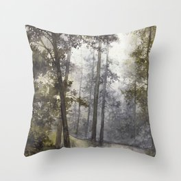 Wet Morning in the Forest Throw Pillow
