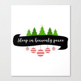Silent Holy Night Sleep Heavenly Peace Christmas Tree Tinsel Design Canvas Print