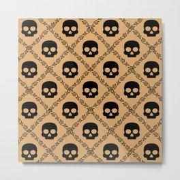 Skulls & Flowers - Beige Metal Print