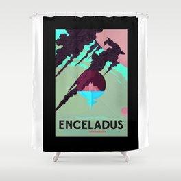 Enceladus - NASA Space Travel Poster (Alternative) Shower Curtain