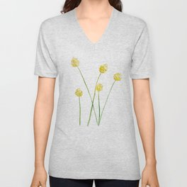 Yellow Billy Button Flowers Unisex V-Neck