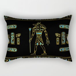 Anubis Egyptian  Gold and blue stained glass Rectangular Pillow