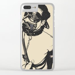 Master is her most important gasp of air - breath play in fetish BDSM style, adult black and white Clear iPhone Case