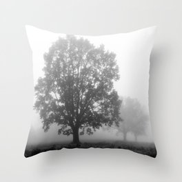 Trees on a Misty Morning Throw Pillow