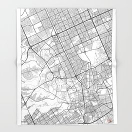 Riyadh Map White Throw Blanket