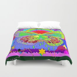 Lime Green Butterfly Face Rainbow for Kids Duvet Cover