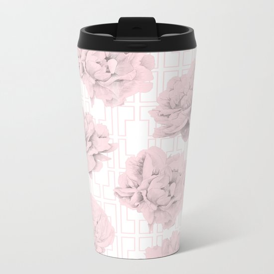 Rose Garden Pink Flamingo Mid-Century Lattice Metal Travel Mug