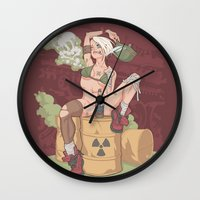 tank girl Wall Clocks featuring Tank Girl smells like toxic waste by Non Vale Art