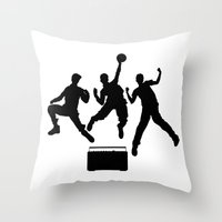 beastie boys Throw Pillows featuring #TheJumpmanSeries, Beastie Boys by @thepeteyrich