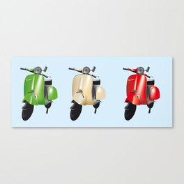 Three Vespa scooters in the colors of the Italian flag Canvas Print