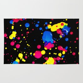 The 80s Retro Dream - Blue Pink and Yellow Paint on Canvas Rug