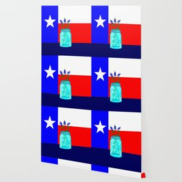 A Texas Flag and Blue Bonnets in a Jar Wallpaper