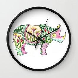 Floral Pattern Rhino Wall Clock