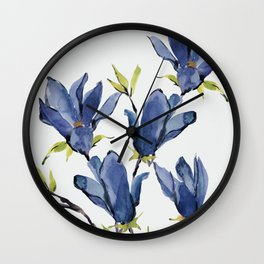 Blue Flowers 3 Wall Clock