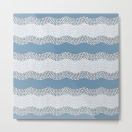 Wavy River VI in blue and grays Metal Print