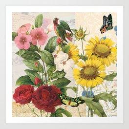 Sunflowers  With Butterflies and a Bird Art Print