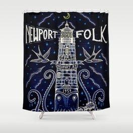 Tribute 1959 Newport Folk Festival - Fort Adams, Newport, Rhode Island portrait painting Shower Curtain