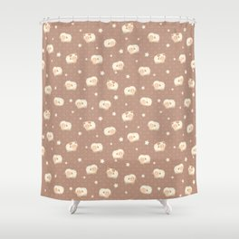 Cute Little Sheep on Brown Shower Curtain