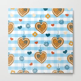 Oktoberfest Gingerbread Hearts Metal Print