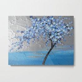 Japanese Style Designs , Blue cherry blossom Metal Print