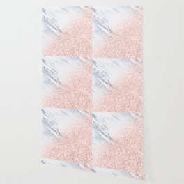 She Sparkles Rose Gold Pink Marble Luxe Geometric Wallpaper