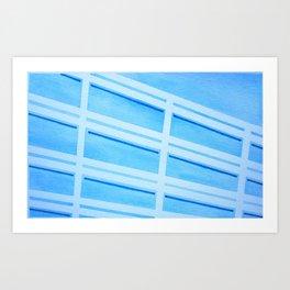 Blue Building - Watercolor, Tapeart Art Print