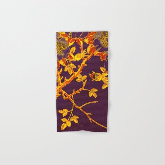 rich floral on purple Hand & Bath Towel