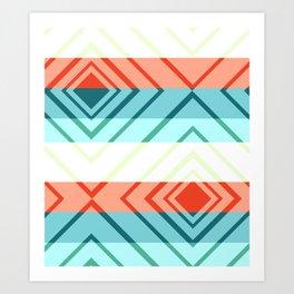 Diamond shadows and stripes Art Print