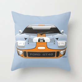 Ford GT40 in Gulf Oil livery Throw Pillow