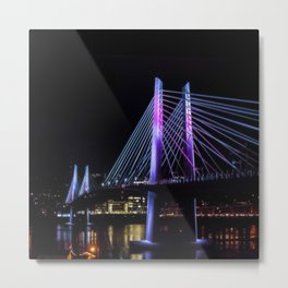 Tilikum Crossing in Blue and Magenta Metal Print