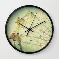 ferris wheel Wall Clocks featuring Ferris Wheel by Honey Malek