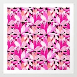 vector seamless pattern beautiful pink lotus flowers on a black background Art Print