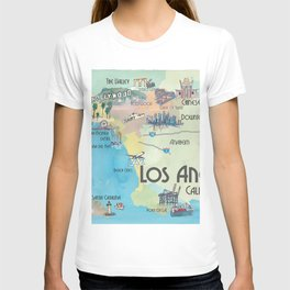 Greater Los Angeles Fine Art Print Retro Vintage Map with Touristic Highlights in colorful retro pri T-shirt
